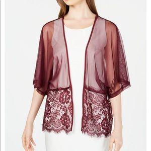 INC Burgundy Sheer Floral Lace Shawl